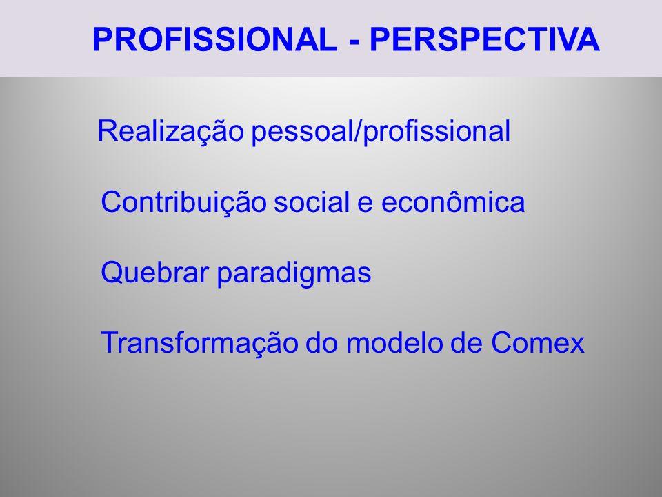 PROFISSIONAL - PERSPECTIVA Realização pessoal/profissional Contribuição social e econômica Quebrar paradigmas Transformação do modelo de Comex