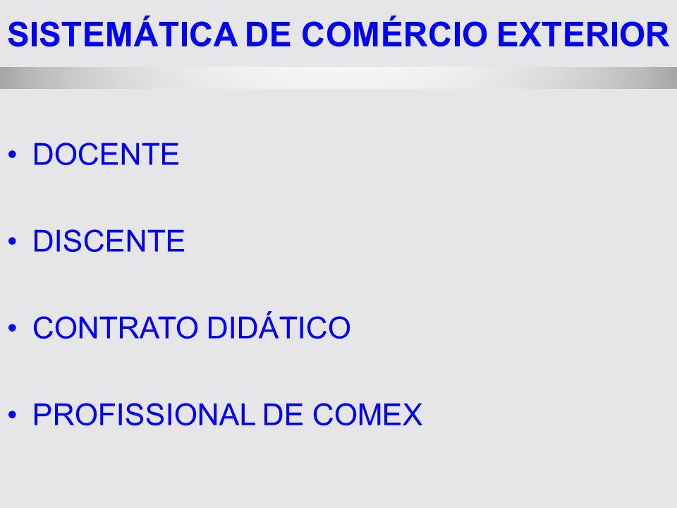 SISTEMÁTICA DE COMÉRCIO EXTERIOR DOCENTE DISCENTE CONTRATO DIDÁTICO PROFISSIONAL DE COMEX
