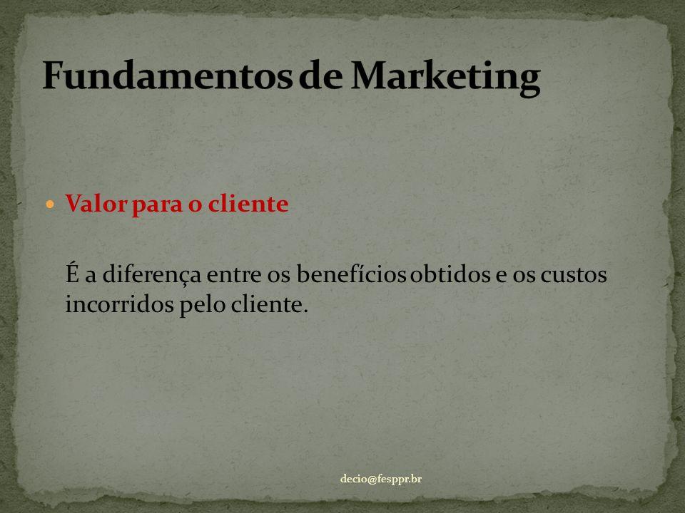 Valor para o cliente É a diferença entre os benefícios obtidos e os custos incorridos pelo cliente. decio@fesppr.br