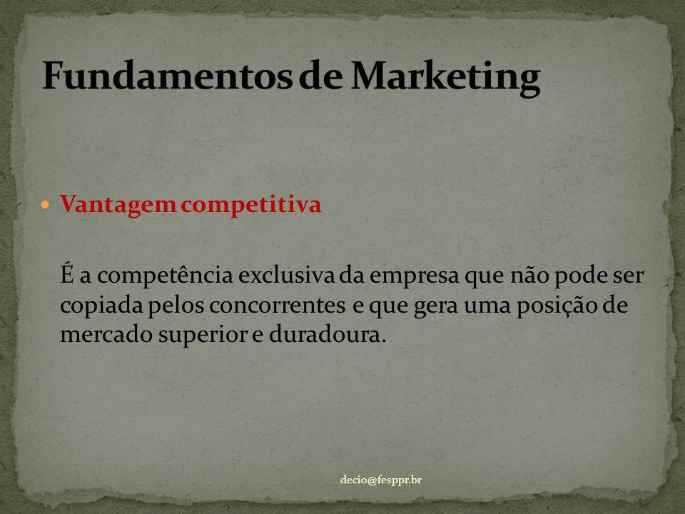 Vantagem competitiva É a competência exclusiva da empresa que não pode ser copiada pelos concorrentes e que gera uma posição de mercado superior e dur