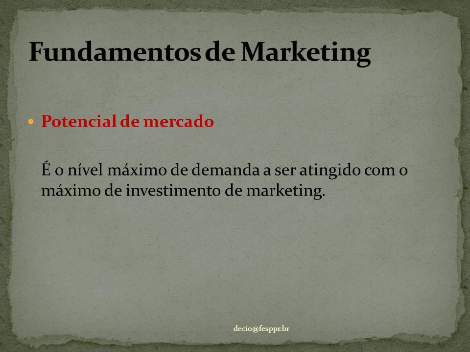 Potencial de mercado É o nível máximo de demanda a ser atingido com o máximo de investimento de marketing. decio@fesppr.br