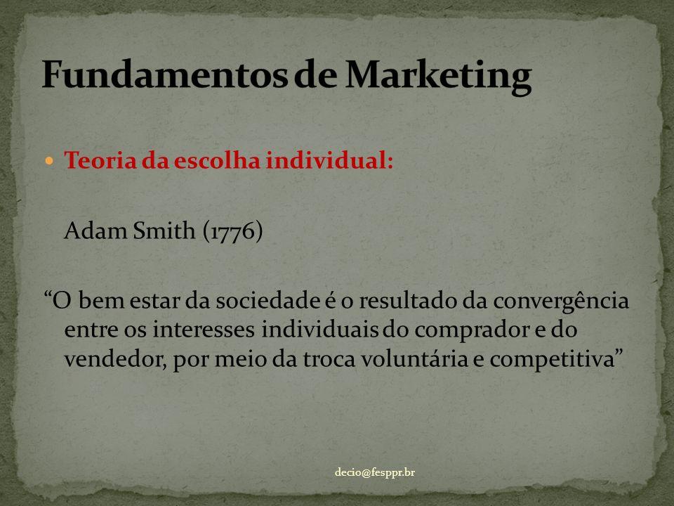 Teoria da escolha individual: Adam Smith (1776) O bem estar da sociedade é o resultado da convergência entre os interesses individuais do comprador e