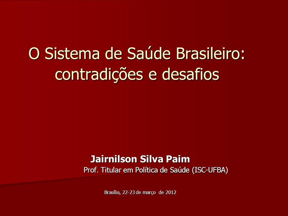O Sistema de Saúde Brasileiro: contradições e desafios Jairnilson Silva Paim Prof. Titular em Política de Saúde (ISC-UFBA) Jairnilson Silva Paim Prof.