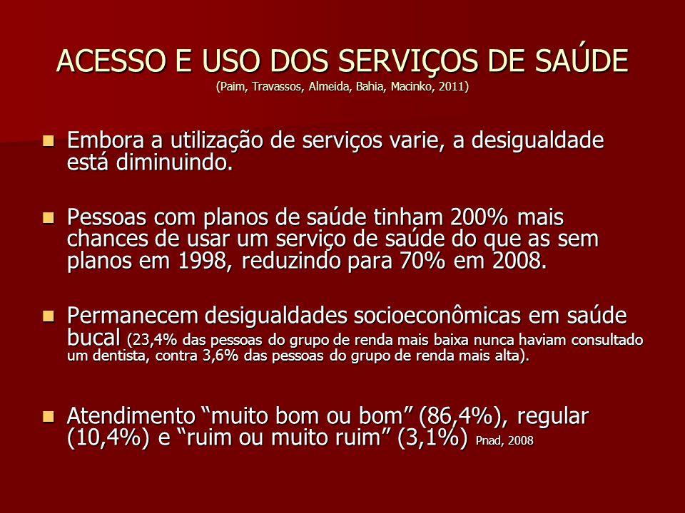 ACESSO E USO DOS SERVIÇOS DE SAÚDE (Paim, Travassos, Almeida, Bahia, Macinko, 2011) Embora a utilização de serviços varie, a desigualdade está diminui