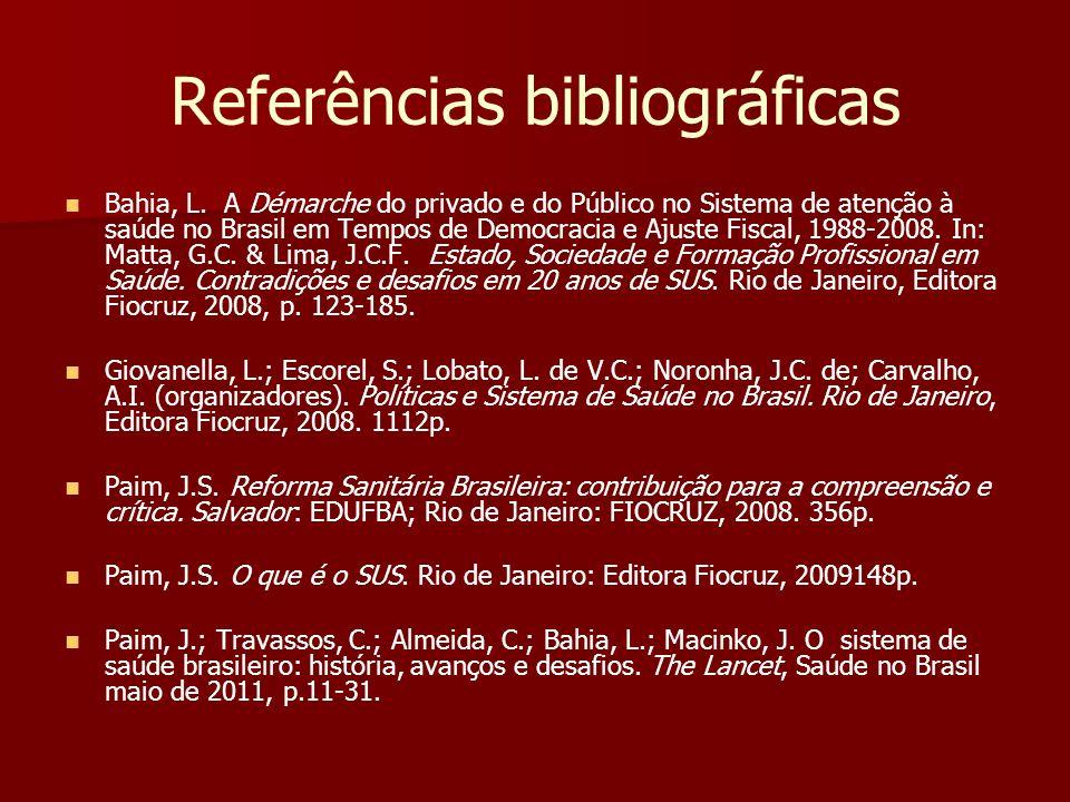 Referências bibliográficas Bahia, L. A Démarche do privado e do Público no Sistema de atenção à saúde no Brasil em Tempos de Democracia e Ajuste Fisca