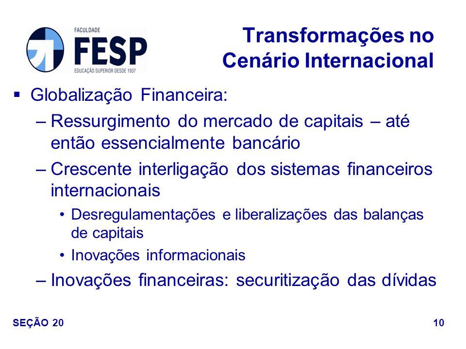 Globalização Financeira: –Ressurgimento do mercado de capitais – até então essencialmente bancário –Crescente interligação dos sistemas financeiros in