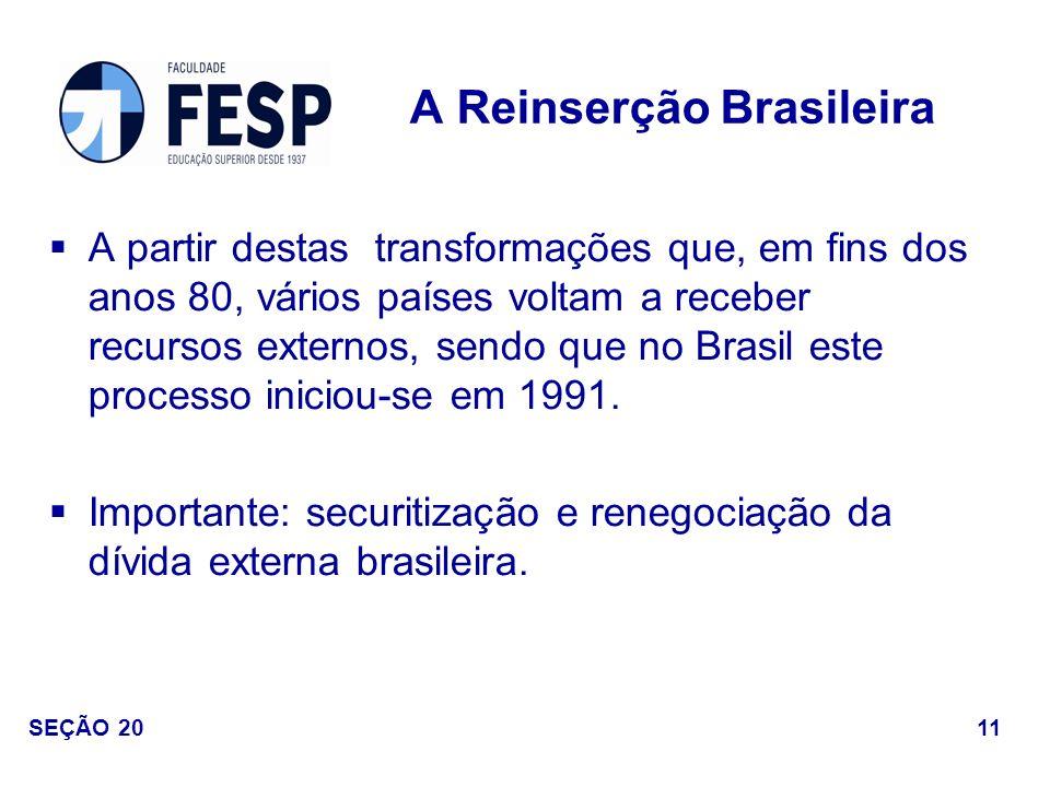A partir destas transformações que, em fins dos anos 80, vários países voltam a receber recursos externos, sendo que no Brasil este processo iniciou-s