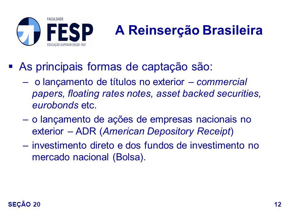 As principais formas de captação são: – o lançamento de títulos no exterior – commercial papers, floating rates notes, asset backed securities, eurobo