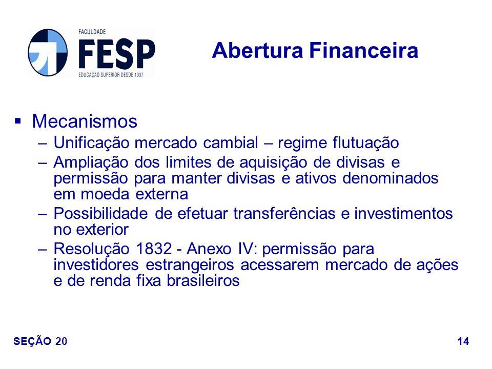 Mecanismos –Unificação mercado cambial – regime flutuação –Ampliação dos limites de aquisição de divisas e permissão para manter divisas e ativos deno