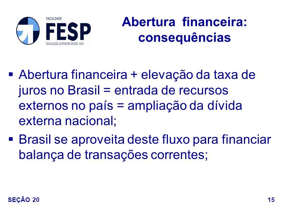 Abertura financeira + elevação da taxa de juros no Brasil = entrada de recursos externos no país = ampliação da dívida externa nacional; Brasil se apr