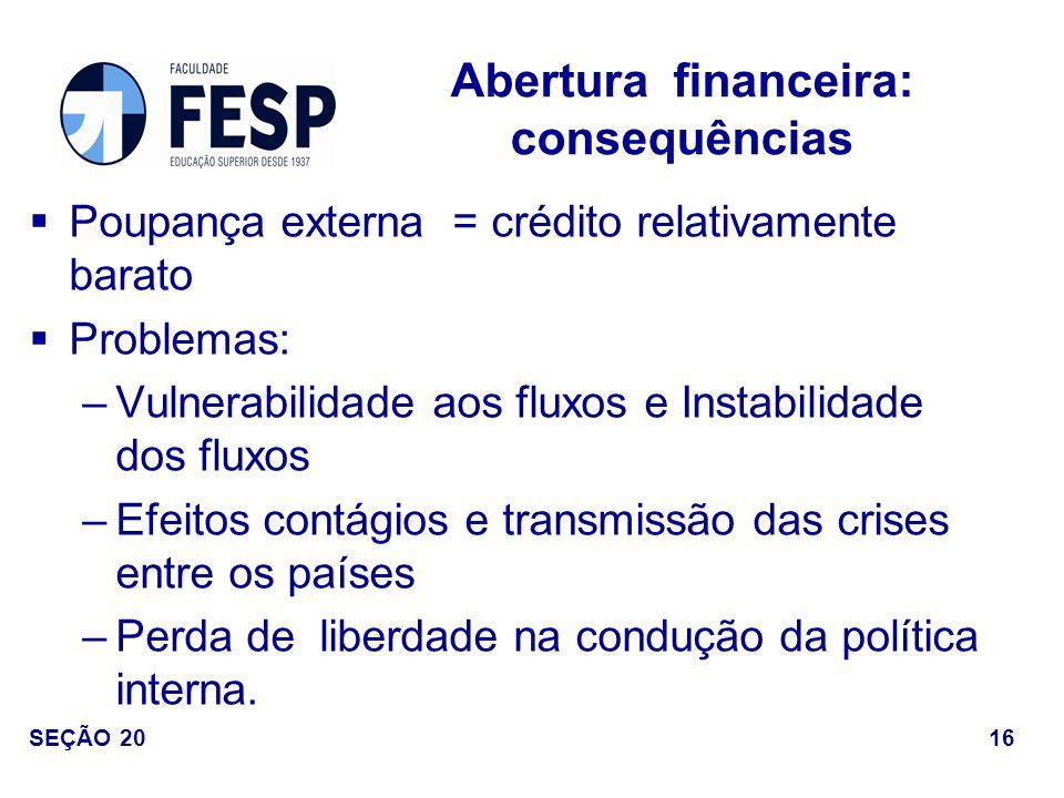 Poupança externa = crédito relativamente barato Problemas: –Vulnerabilidade aos fluxos e Instabilidade dos fluxos –Efeitos contágios e transmissão das