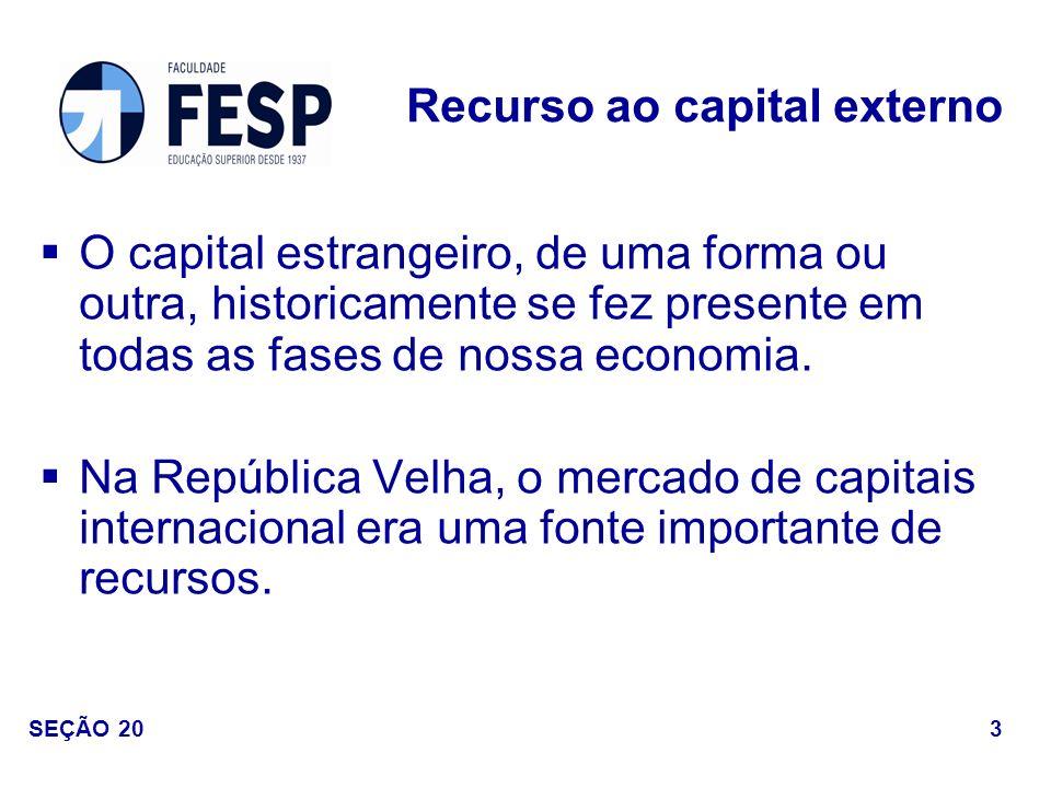 O capital estrangeiro, de uma forma ou outra, historicamente se fez presente em todas as fases de nossa economia. Na República Velha, o mercado de cap