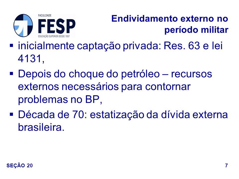 inicialmente captação privada: Res. 63 e lei 4131, Depois do choque do petróleo – recursos externos necessários para contornar problemas no BP, Década
