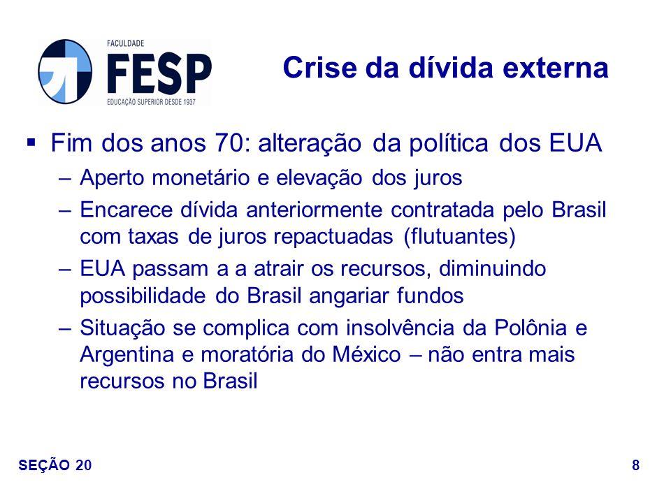 Fim dos anos 70: alteração da política dos EUA –Aperto monetário e elevação dos juros –Encarece dívida anteriormente contratada pelo Brasil com taxas