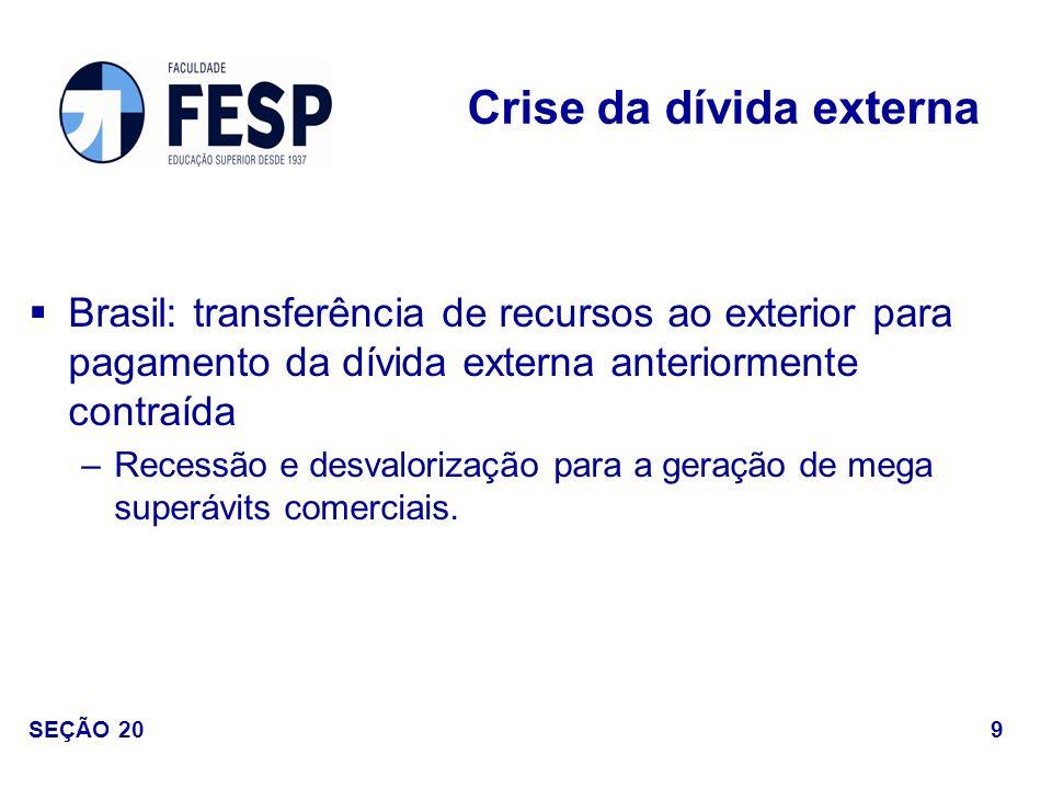 Brasil: transferência de recursos ao exterior para pagamento da dívida externa anteriormente contraída –Recessão e desvalorização para a geração de me