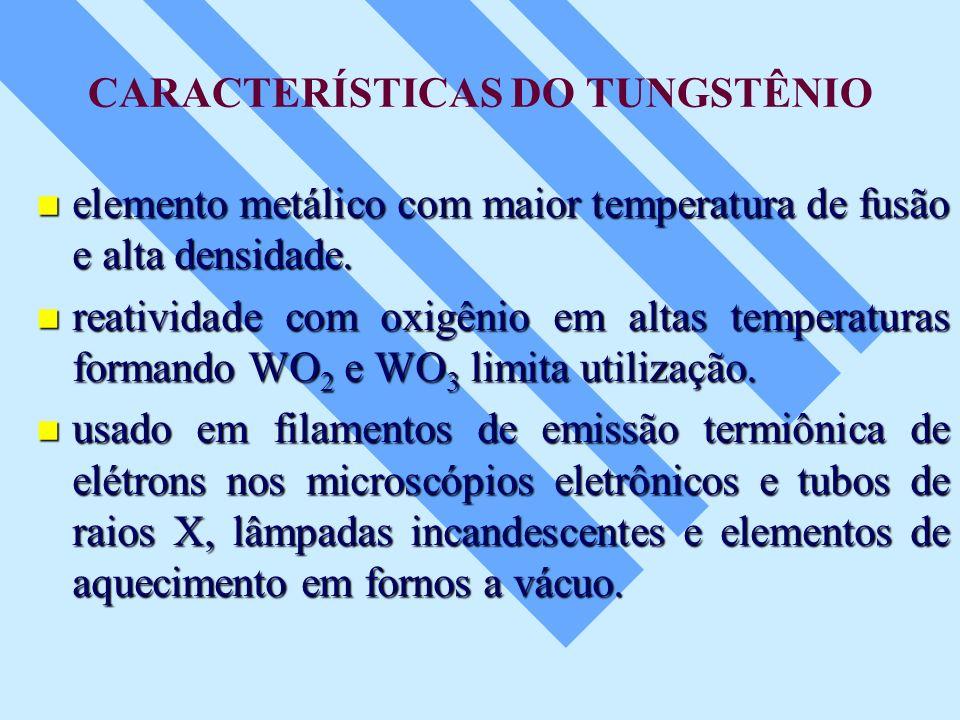 CARACTERÍSTICAS DO TUNGSTÊNIO elemento metálico com maior temperatura de fusão e alta densidade. elemento metálico com maior temperatura de fusão e al
