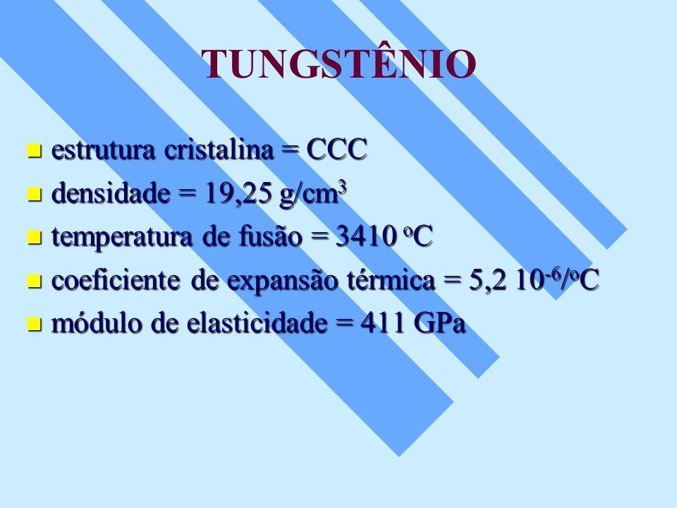 TUNGSTÊNIO estrutura cristalina = CCC estrutura cristalina = CCC densidade = 19,25 g/cm 3 densidade = 19,25 g/cm 3 temperatura de fusão = 3410 o C tem