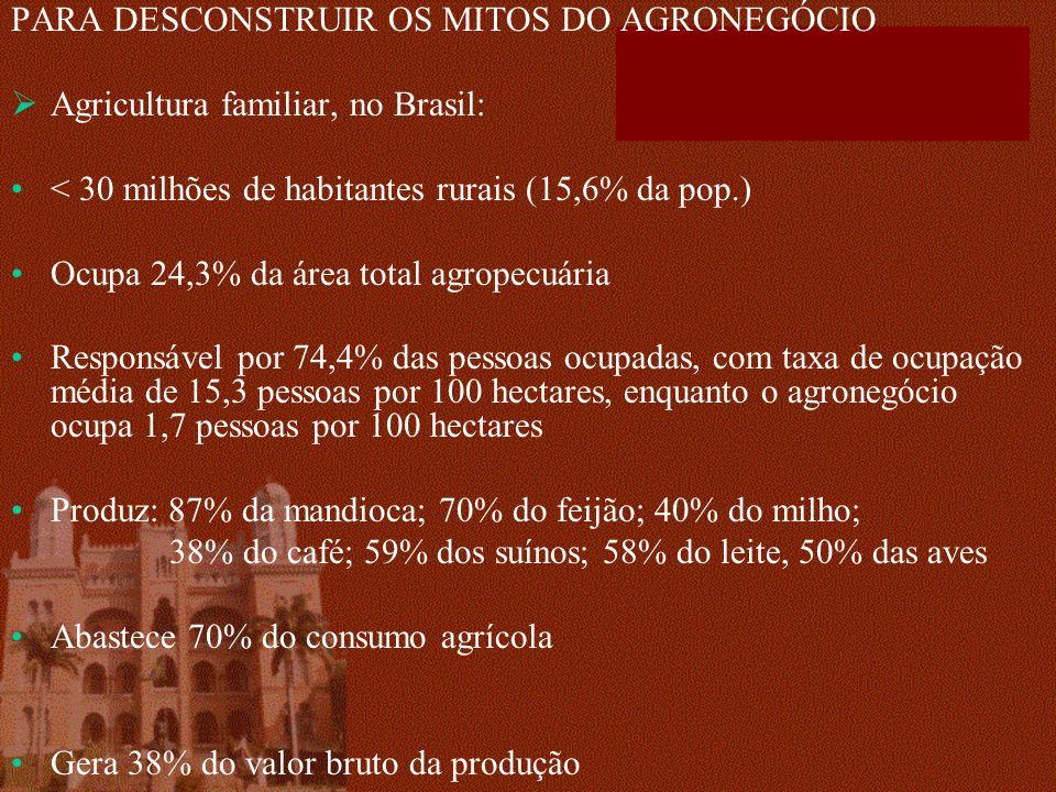 PARA DESCONSTRUIR OS MITOS DO AGRONEGÓCIO Agricultura familiar, no Brasil: < 30 milhões de habitantes rurais (15,6% da pop.) Ocupa 24,3% da área total agropecuária Responsável por 74,4% das pessoas ocupadas, com taxa de ocupação média de 15,3 pessoas por 100 hectares, enquanto o agronegócio ocupa 1,7 pessoas por 100 hectares Produz: 87% da mandioca; 70% do feijão; 40% do milho; 38% do café; 59% dos suínos; 58% do leite, 50% das aves Abastece 70% do consumo agrícola Gera 38% do valor bruto da produção