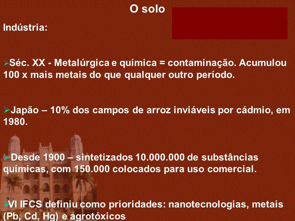 O solo Indústria: Séc. XX - Metalúrgica e química = contaminação. Acumulou 100 x mais metais do que qualquer outro período. Japão – 10% dos campos de