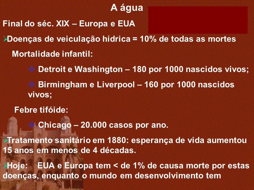A água Final do séc. XIX – Europa e EUA Doenças de veiculação hídrica = 10% de todas as mortes Mortalidade infantil: Detroit e Washington – 180 por 10
