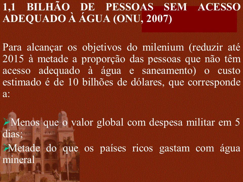 1,1 BILHÃO DE PESSOAS SEM ACESSO ADEQUADO À ÁGUA (ONU, 2007) Para alcançar os objetivos do milenium (reduzir até 2015 à metade a proporção das pessoas