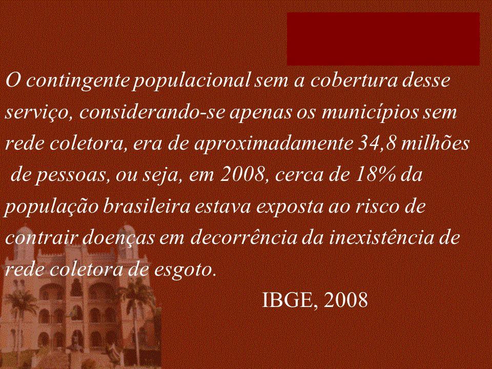O contingente populacional sem a cobertura desse serviço, considerando-se apenas os municípios sem rede coletora, era de aproximadamente 34,8 milhões de pessoas, ou seja, em 2008, cerca de 18% da população brasileira estava exposta ao risco de contrair doenças em decorrência da inexistência de rede coletora de esgoto.
