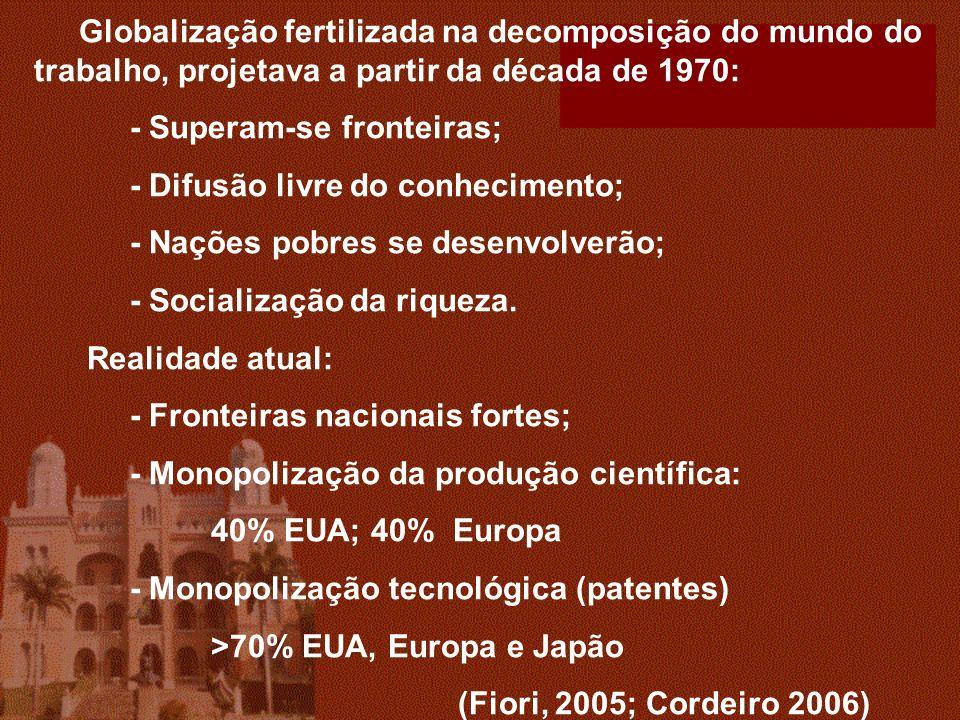 Globalização fertilizada na decomposição do mundo do trabalho, projetava a partir da década de 1970: - Superam-se fronteiras; - Difusão livre do conhecimento; - Nações pobres se desenvolverão; - Socialização da riqueza.