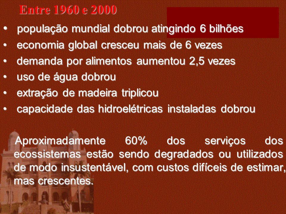 Entre 1960 e 2000 população mundial dobrou atingindo 6 bilhões população mundial dobrou atingindo 6 bilhões economia global cresceu mais de 6 vezes ec