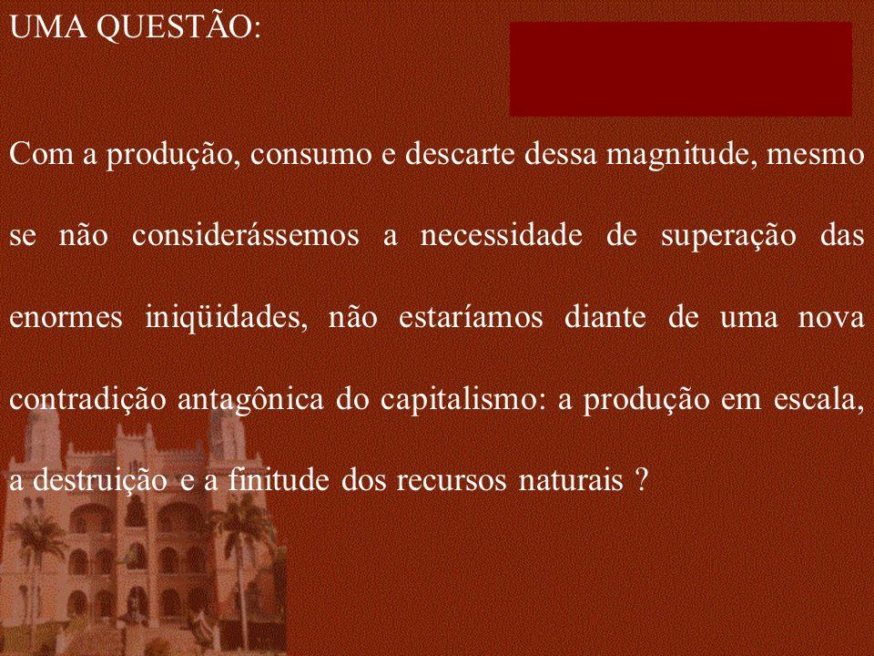 UMA QUESTÃO: Com a produção, consumo e descarte dessa magnitude, mesmo se não considerássemos a necessidade de superação das enormes iniqüidades, não