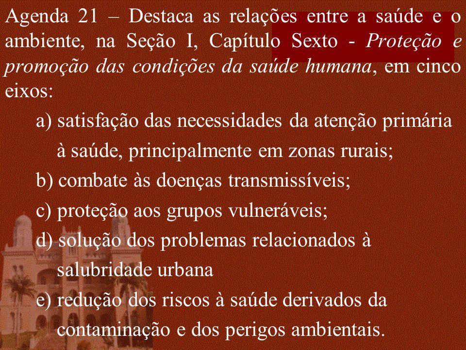 Agenda 21 – Destaca as relações entre a saúde e o ambiente, na Seção I, Capítulo Sexto - Proteção e promoção das condições da saúde humana, em cinco e