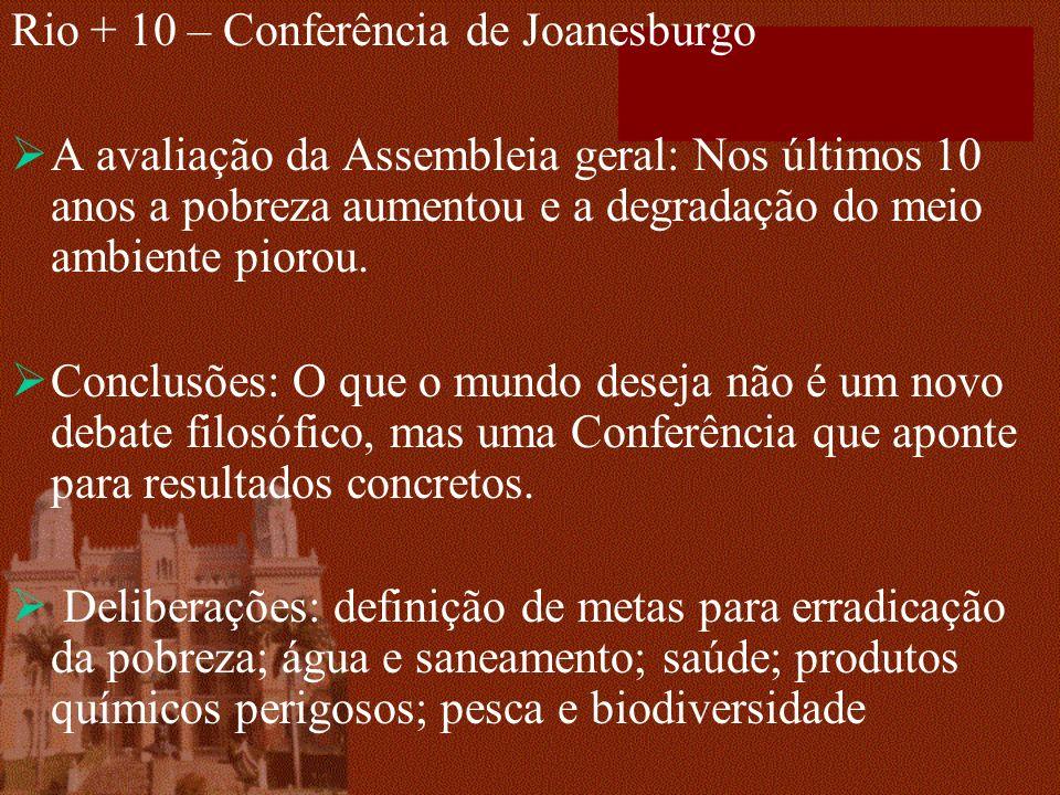 Rio + 10 – Conferência de Joanesburgo A avaliação da Assembleia geral: Nos últimos 10 anos a pobreza aumentou e a degradação do meio ambiente piorou.