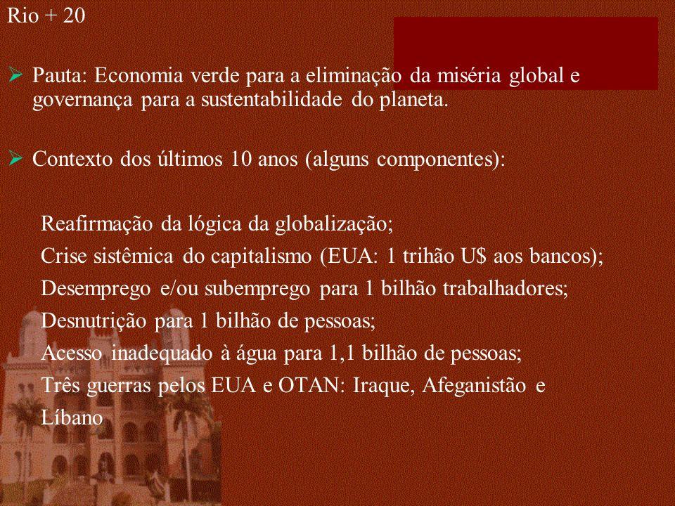 Rio + 20 Pauta: Economia verde para a eliminação da miséria global e governança para a sustentabilidade do planeta. Contexto dos últimos 10 anos (algu