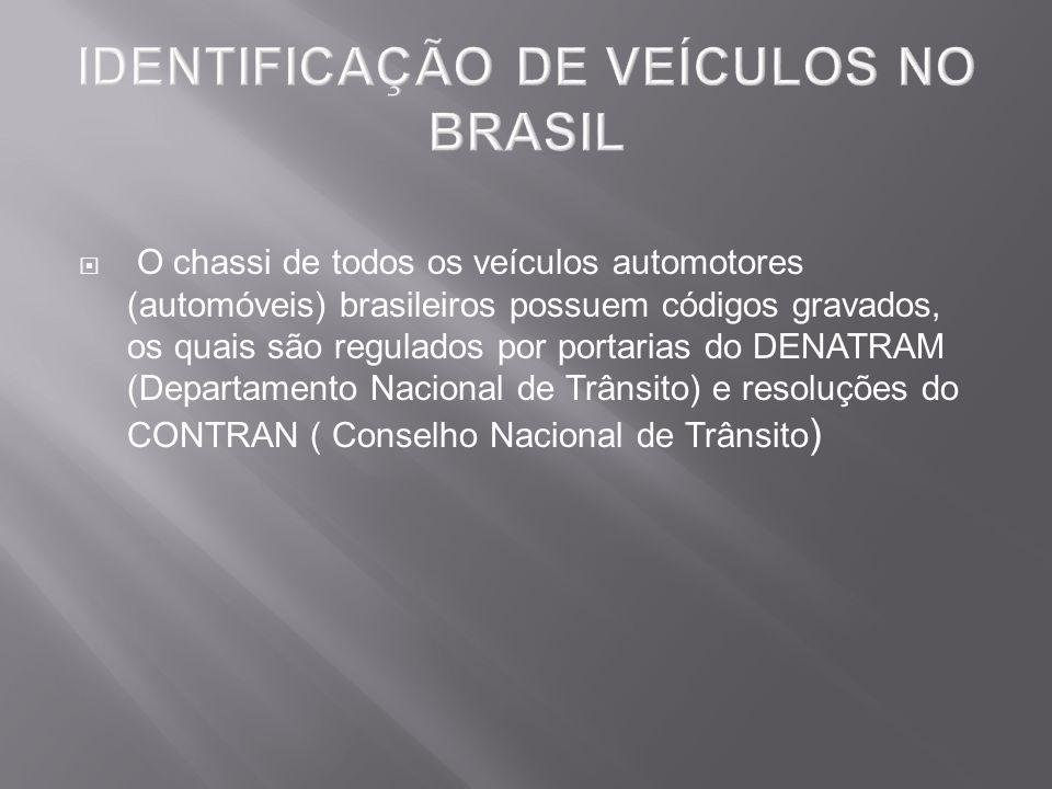 O chassi de todos os veículos automotores (automóveis) brasileiros possuem códigos gravados, os quais são regulados por portarias do DENATRAM (Departa