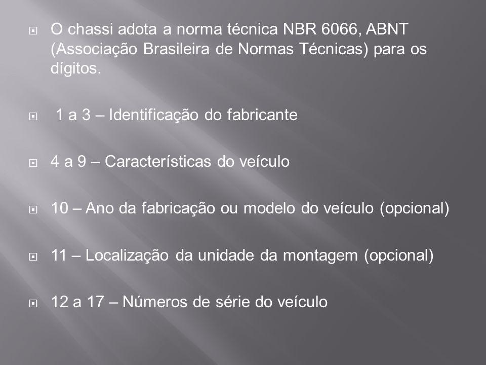 O chassi adota a norma técnica NBR 6066, ABNT (Associação Brasileira de Normas Técnicas) para os dígitos. 1 a 3 – Identificação do fabricante 4 a 9 –