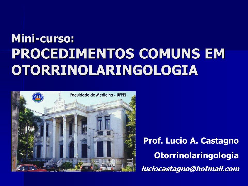 Mini-curso: PROCEDIMENTOS COMUNS EM OTORRINOLARINGOLOGIA Prof. Lucio A. Castagno Otorrinolaringologia luciocastagno@hotmail.com