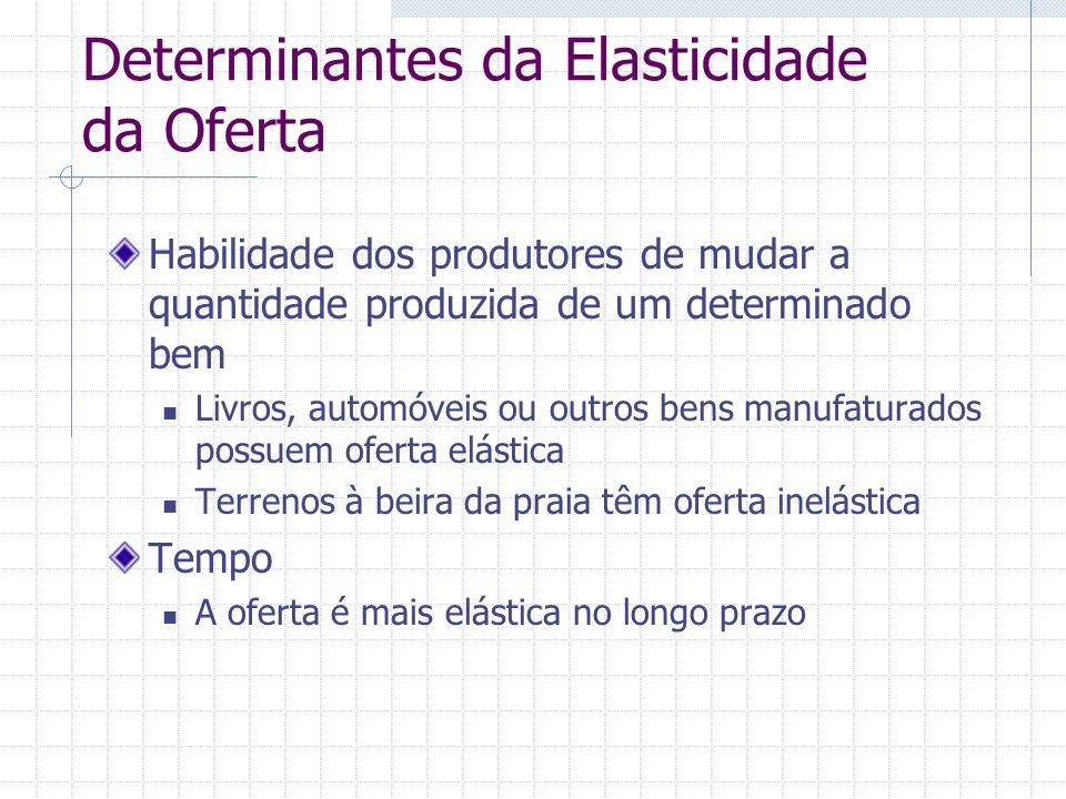 Determinantes da Elasticidade da Oferta Habilidade dos produtores de mudar a quantidade produzida de um determinado bem Livros, automóveis ou outros b