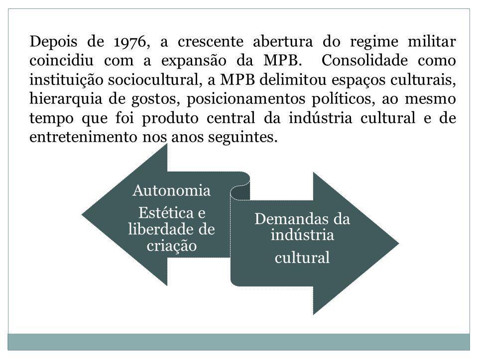 Depois de 1976, a crescente abertura do regime militar coincidiu com a expansão da MPB. Consolidade como instituição sociocultural, a MPB delimitou es