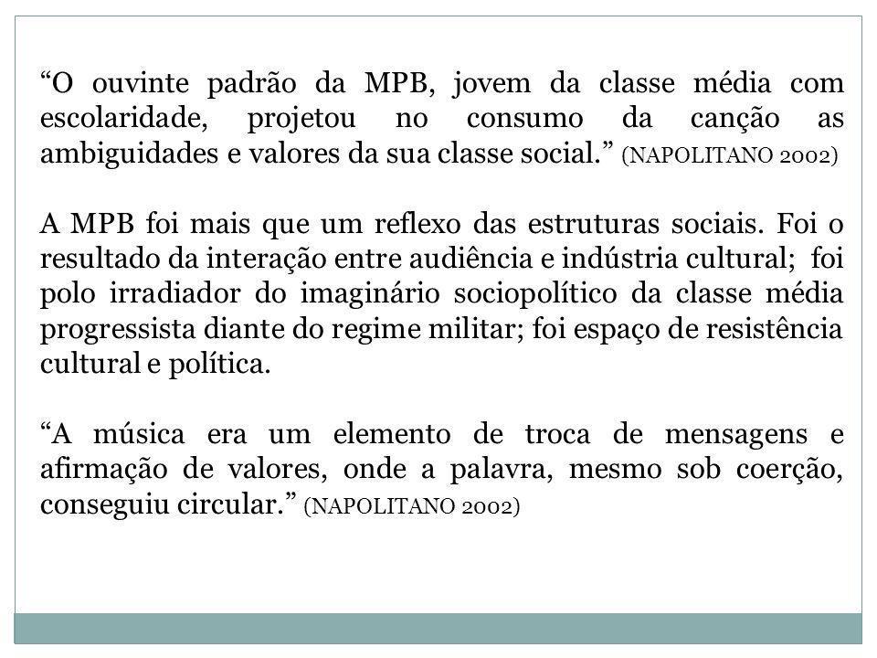 A MPB, como produto comercial, foi prejudicada pelo regime militar, especialmente sob a liderança de Médici (1969-1974) que procurou controlar as manifestações culturais mais criativas e críticas.