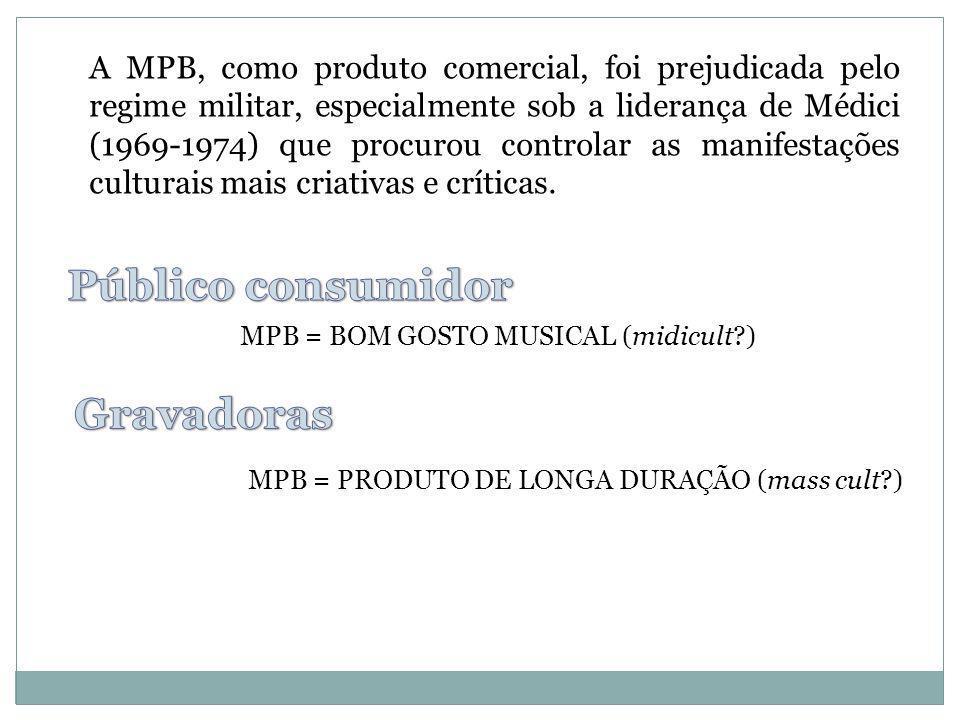 A MPB, como produto comercial, foi prejudicada pelo regime militar, especialmente sob a liderança de Médici (1969-1974) que procurou controlar as mani