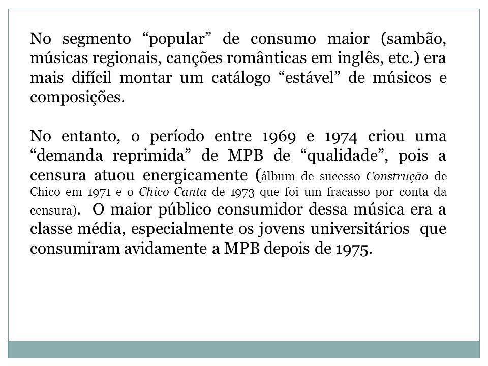 Houve investimento em compositores como Aldir Blanc, Ivan Lins, Ruy Maurity, Luiz Gonzaga Júnior, bem como nos festivais universitários organizados pela Rede Tupi (1968-72) e no programa Som Livre Exporta da Rede Globo (1971-72).