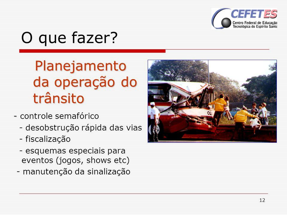 12 O que fazer? Planejamento da operação do trânsito Planejamento da operação do trânsito - - controle semafórico - desobstrução rápida das vias - fis