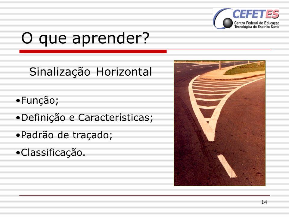 14 O que aprender? Sinalização Horizontal Função; Definição e Características; Padrão de traçado; Classificação.