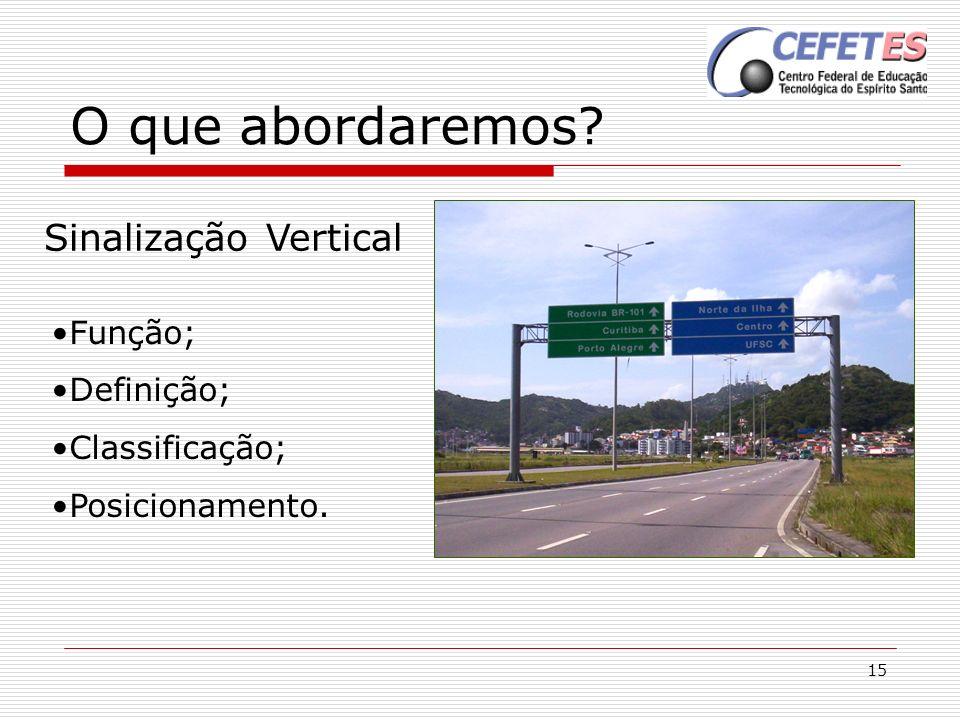 15 O que abordaremos? Sinalização Vertical Função; Definição; Classificação; Posicionamento.