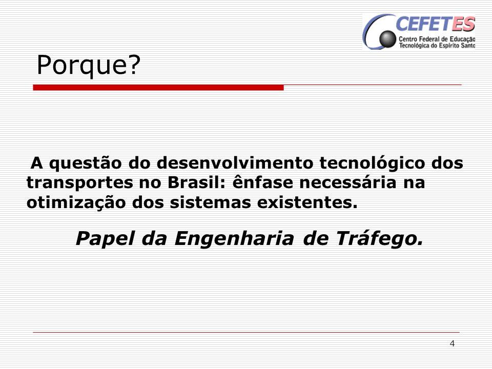 4 Porque? A questão do desenvolvimento tecnológico dos transportes no Brasil: ênfase necessária na otimização dos sistemas existentes. Papel da Engenh