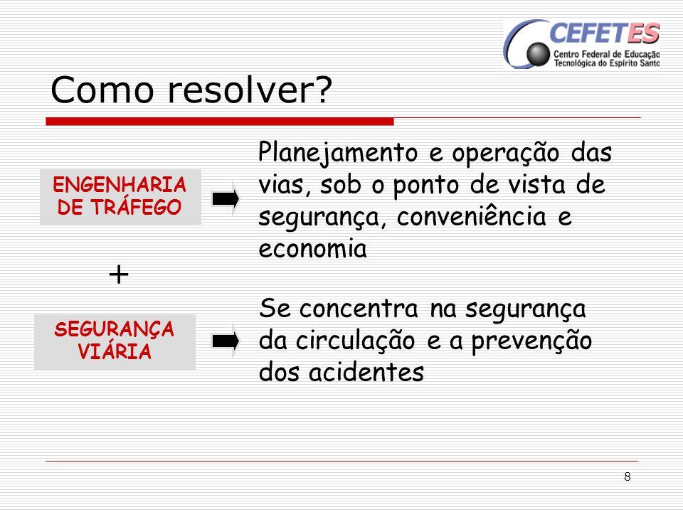 8 Como resolver? Se concentra na segurança da circulação e a prevenção dos acidentes Planejamento e operação das vias, sob o ponto de vista de seguran