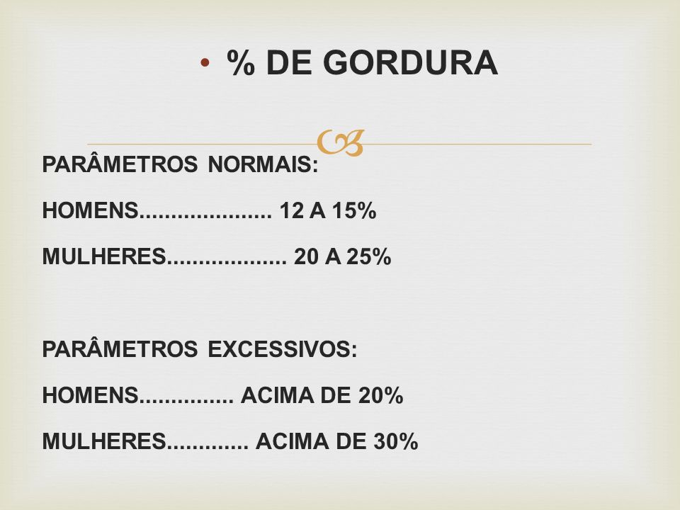 % DE GORDURA PARÂMETROS NORMAIS: HOMENS..................... 12 A 15% MULHERES................... 20 A 25% PARÂMETROS EXCESSIVOS: HOMENS..............