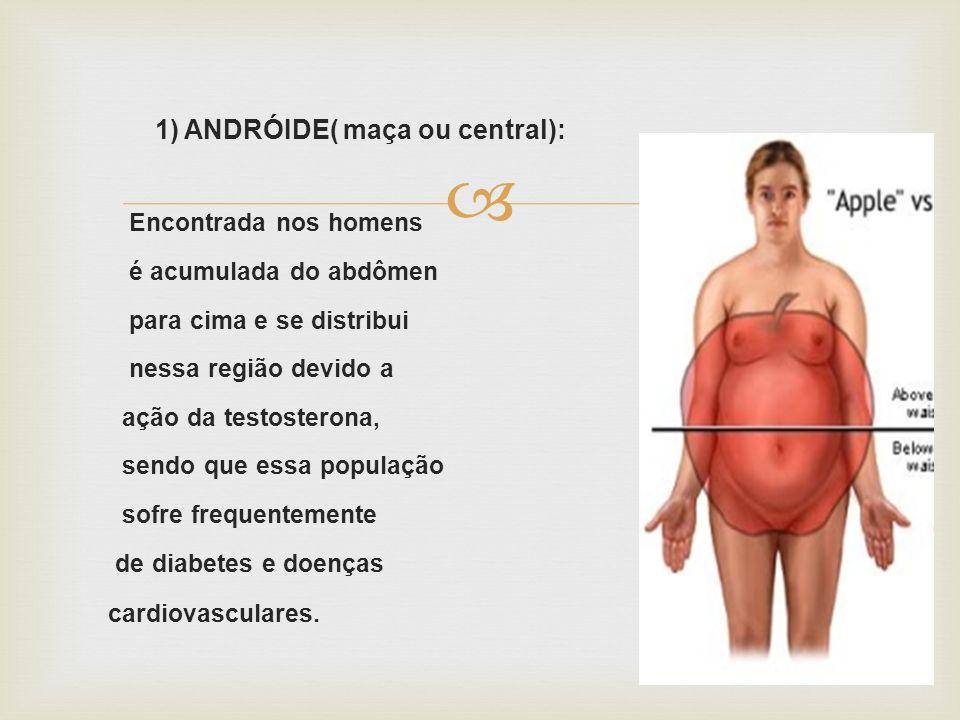 2) GINÓIDE (pêra ou periférica): Encontrada nas mulheres, é acumulada basicamente No quadril e coxas e se distribui nessa região sob o efeito dos Esrogênios e da progesterona.