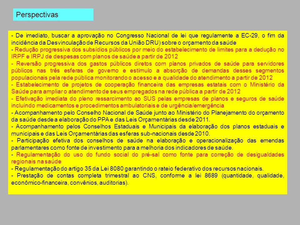 - De imediato, buscar a aprovação no Congresso Nacional de lei que regulamente a EC-29, o fim da incidência da Desvinculação de Recursos da União DRU)