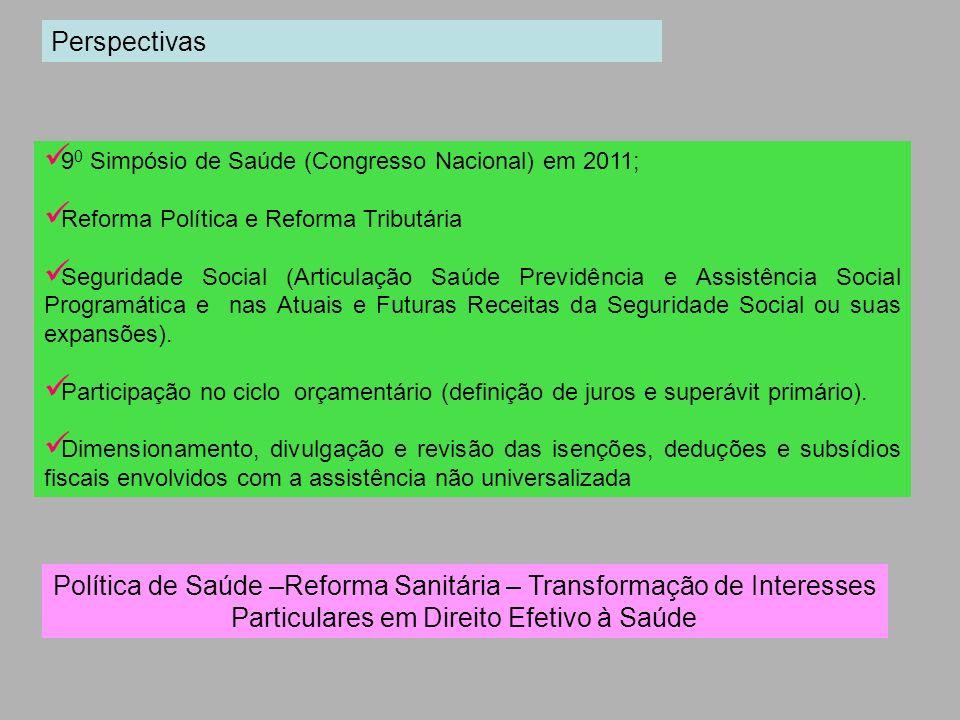 9 0 Simpósio de Saúde (Congresso Nacional) em 2011; Reforma Política e Reforma Tributária Seguridade Social (Articulação Saúde Previdência e Assistênc