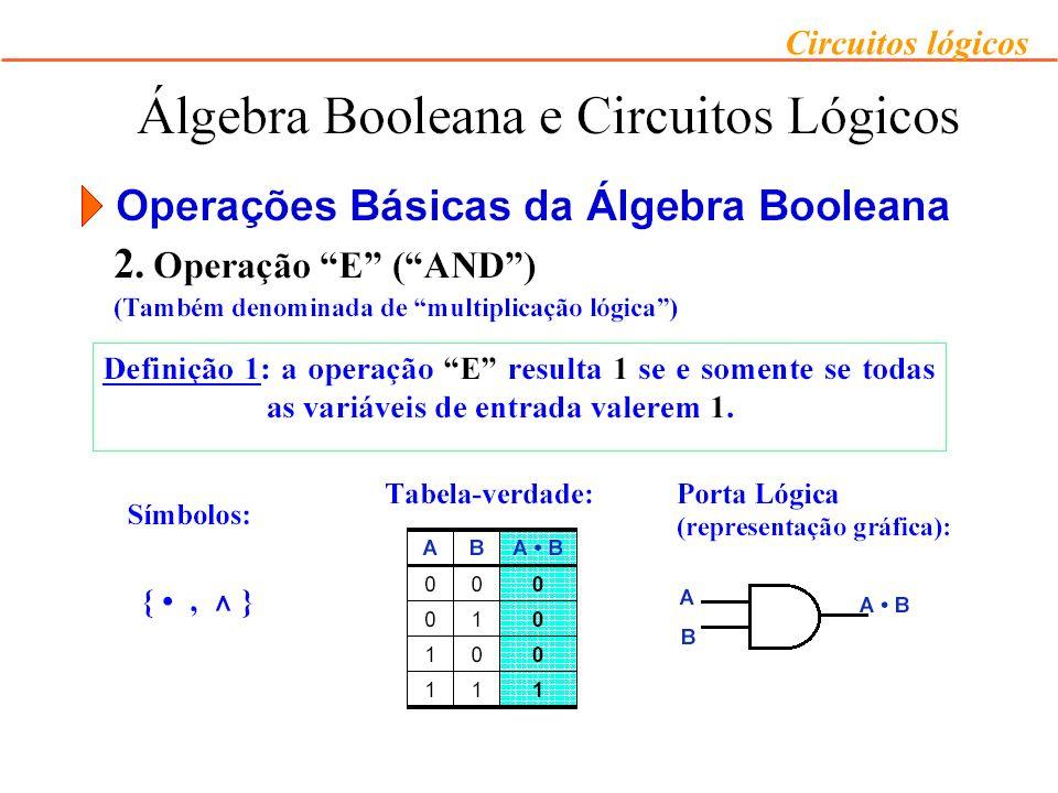 Circuitos lógicos Exemplo: desenhe o circuito lógico para a equação F = X (Y + Z) –Passo 1: Desenhar a porta inversora que implementa Z.